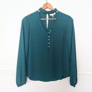 WAYF Teal choker neck blouse NWT M